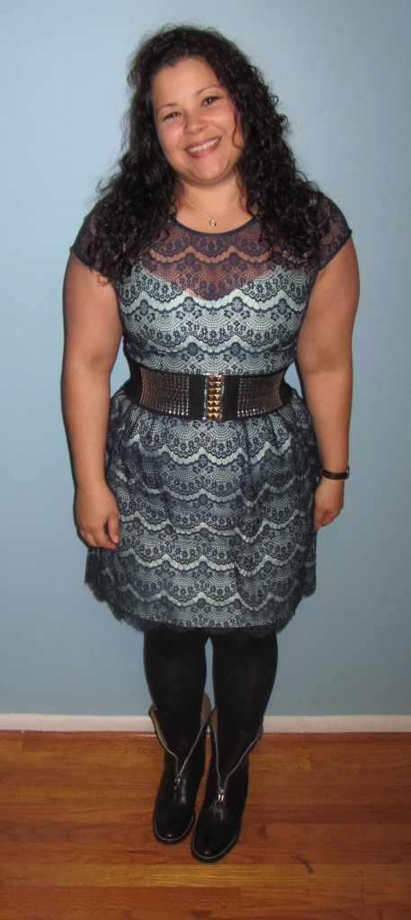 thrift style thursday // Gabby Skye scallop lace dress