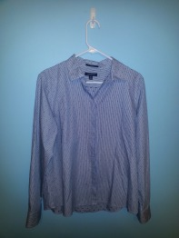 lands end striped and dot button down