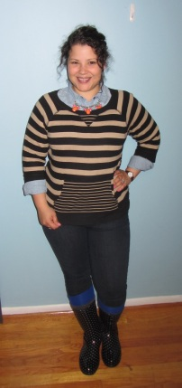 chambray shirt, JNY striped sweatshirt, leggings