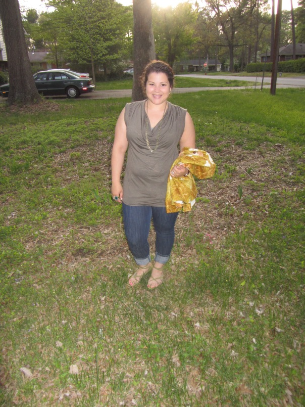 olive bcbg top, talbots tuileries jacket, skinnies, sandals