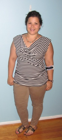 striped Chaus cowl neck top and Gap skinny khakis - Clothes Mentor Chapel Hill