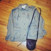military inspired jacket and vintage mulberry bag!