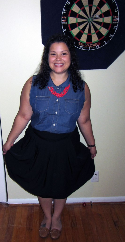 gap sleeveless denim shirt, simply vera black skirt, flats