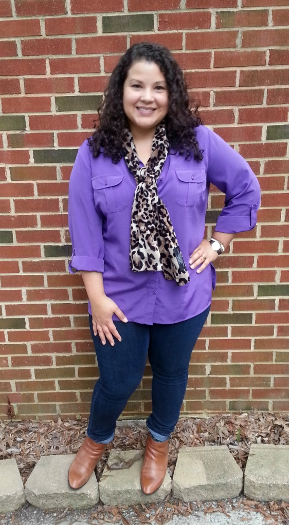 leopard scarf, skinny jeans, boots, purple blouse