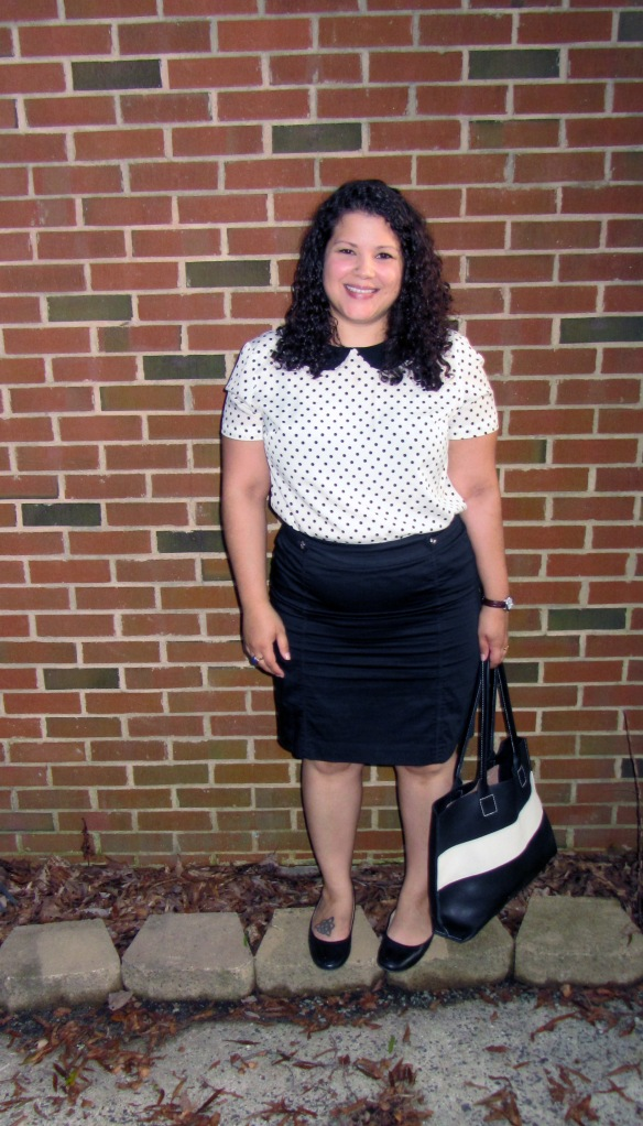 black & white | polka dots | merona polka dot peter pan shirt | whbm pencil skirt | lands end ballet flats | mill & bird racing kate tote