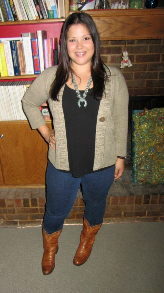 western inspired: cowboy boots, gap skinnies, eileen fisher tank top, zuni turquoise necklace, classiques entier cardigan