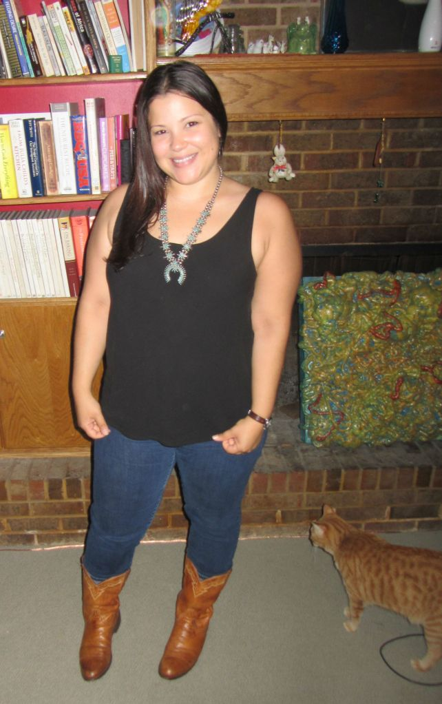 western inspired: cowboy boots, gap skinnies, eileen fisher tank top, zuni turquoise necklace