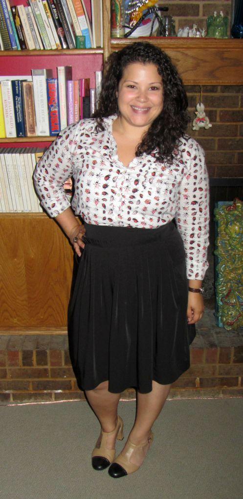 gap bug button down, black skirt, trotters t-straps