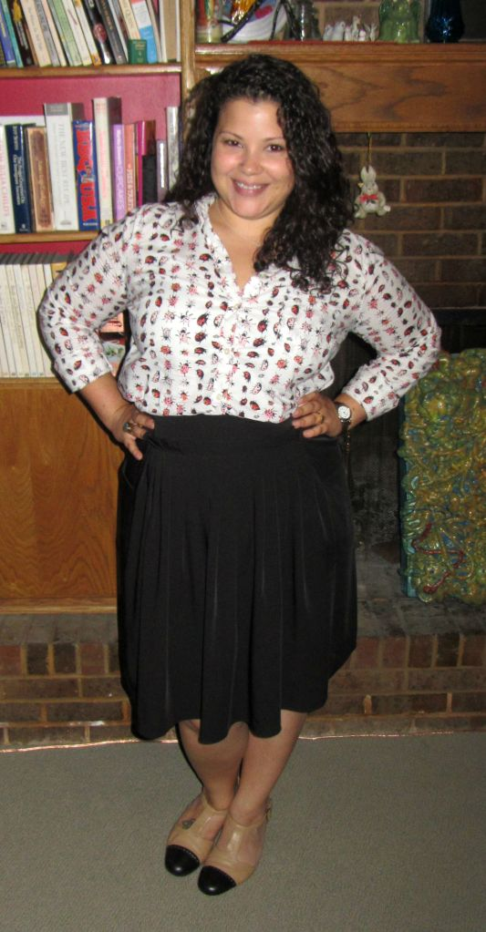 gap bug button down, black skirt, trotters t-straps