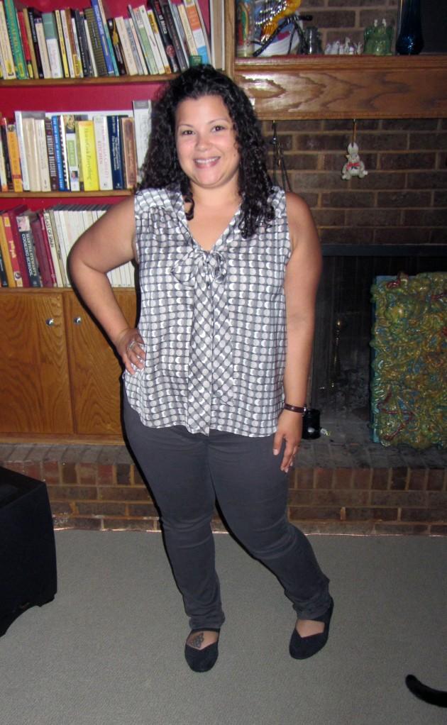 workwear wednesday neutrals - halogen tie blouse, NYDJ leggings from ThredUp, Bernie Mev mary janes, Old navy polka dot cardigan