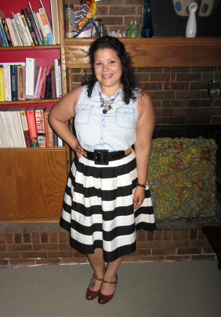 stripes & chambray - eshakti striped contrast colorblock pleated skirt, sleeveless chambray shirt, black cardigan, pumps