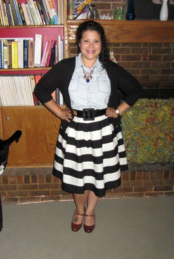 stripes & chambray - eshakti striped contrast colorblock pleated skirt, sleeveless chambray shirt, black cardigan, pumps