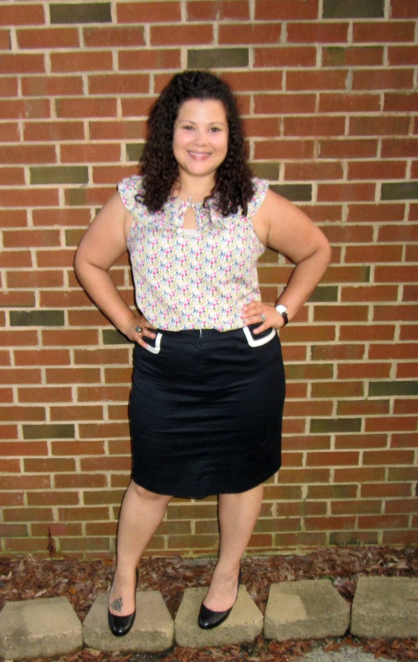 workwear wednesday - liberty london floral blouse, talbots pencil skirt, cole haan pumps