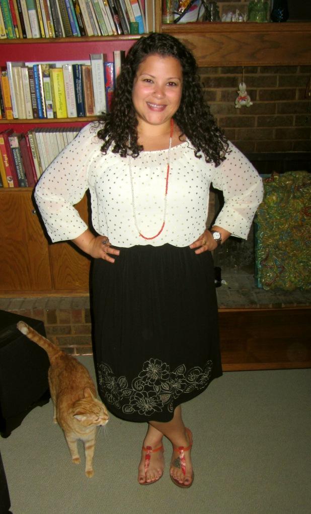 jennifer lopez polka dot blouse, black skirt, sam edelman sandals