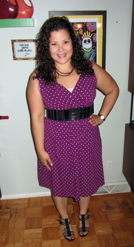 Lands end polka dot dress, stuart weitzman sandals, worth new york belt