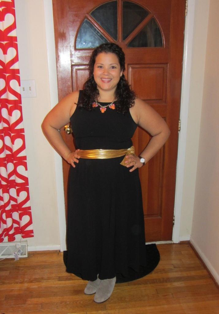 black eileen fisher maxi dress, gold belt, booties