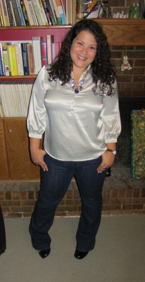 workwear wednesday little polka dots blouse and levis jeans