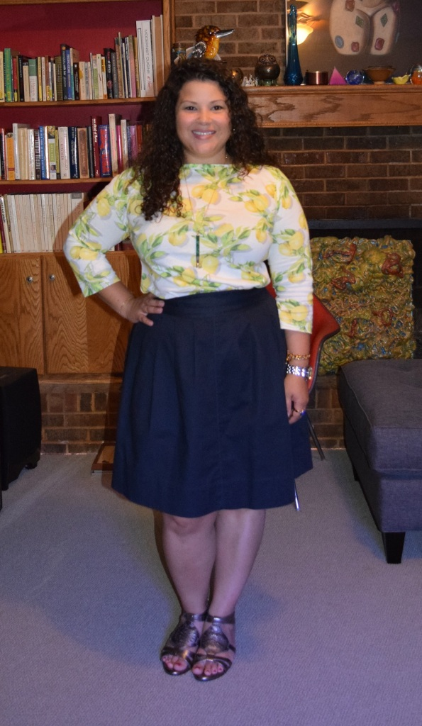 Talbots Lemon Bunches Bateau Neck Tee, Rafaella skirt, Sofft breeze