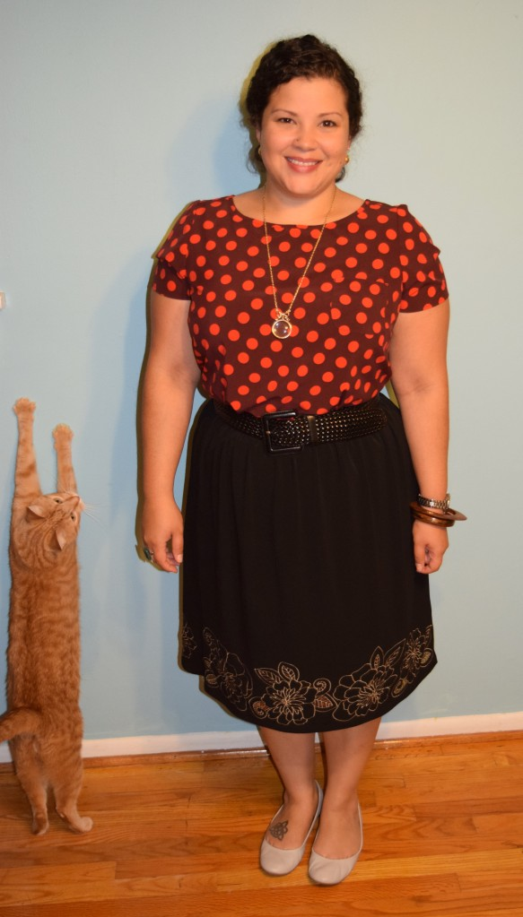 lands end polka dot blouse - black skirt - j crew flats - belt