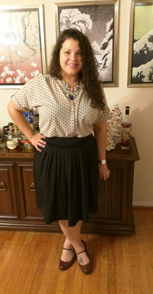 pleated skirt + polka dot blouse