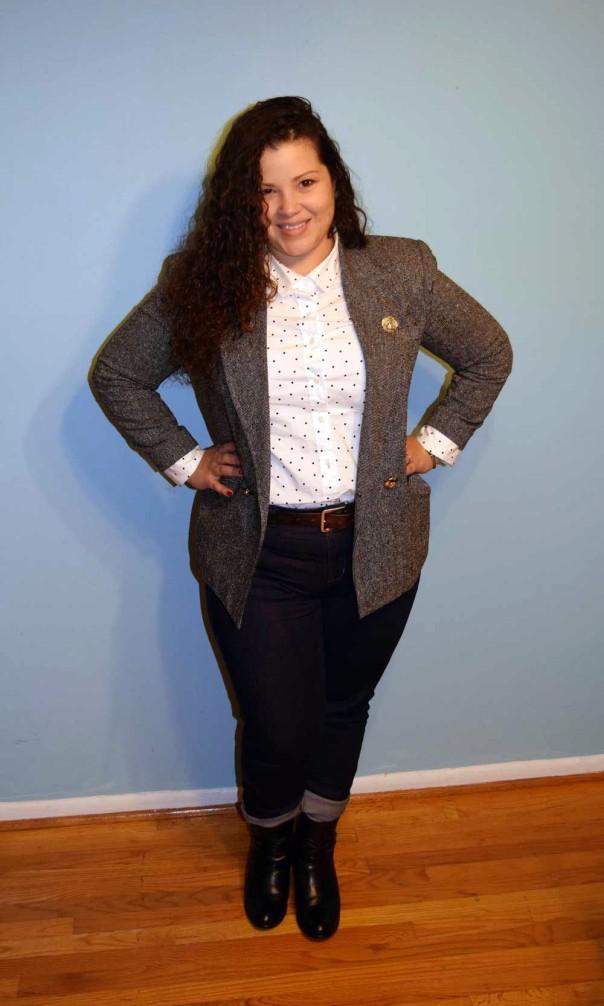 vintage Doncaster blazer, Halogen polka dot shirt, Brooks Brothers jeans, Frye Jackie Rivet short boots