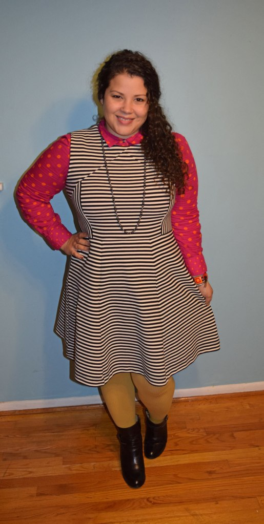 striped dress, polka dot button down, boots, tights