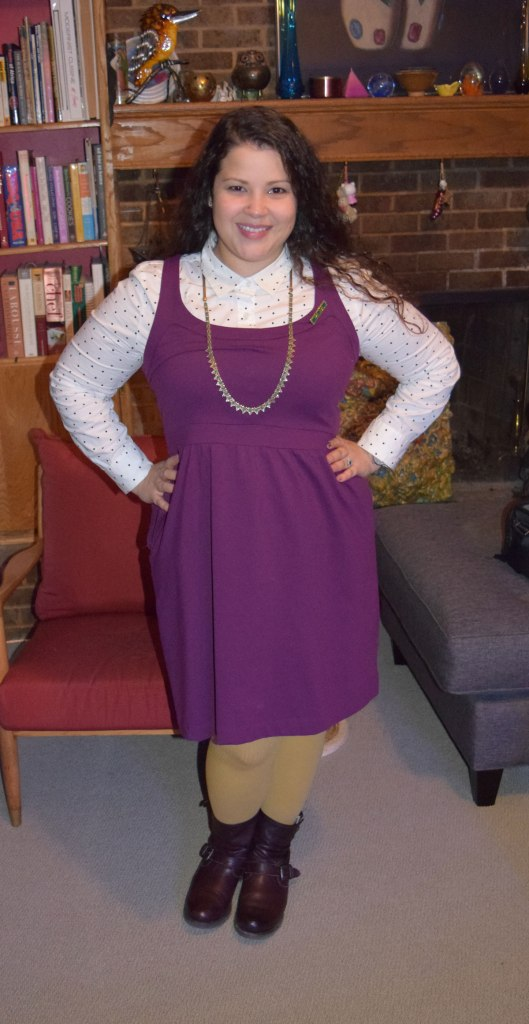 Cynthia Rowly dress, Halogen polka dot button down, HUE mustard tights
