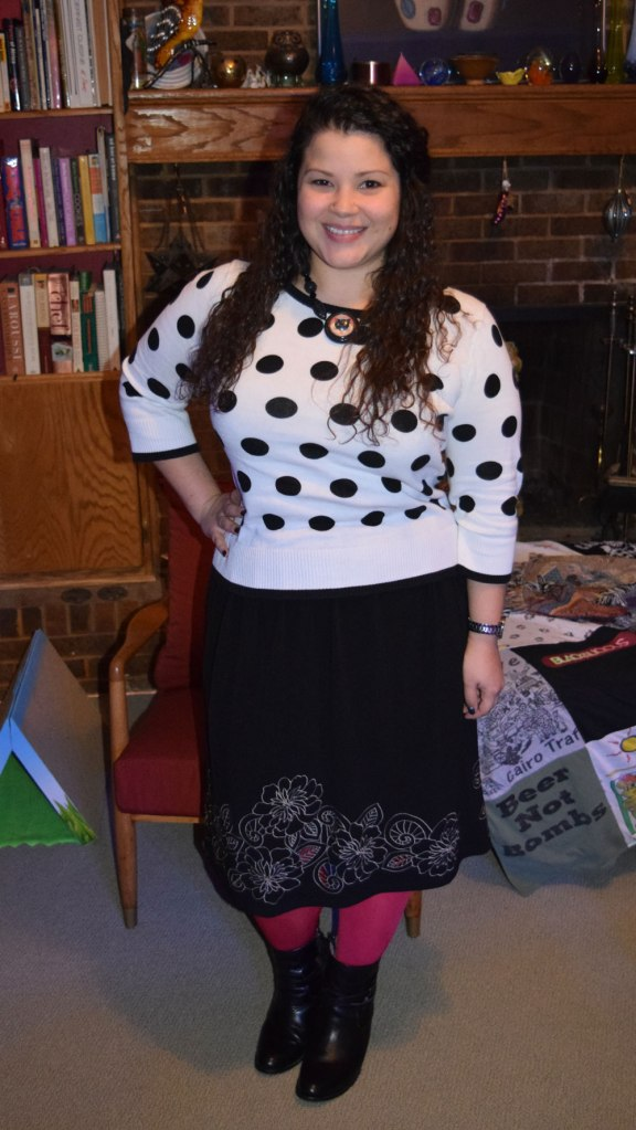 polka dot sweater, black skirt, red tights, Frye Jackie Rivet Short Boots