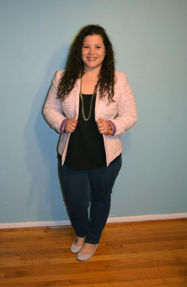 Classiques Entier Tweed jacket, Gap jeans, J Crew flats, eileen fisher top