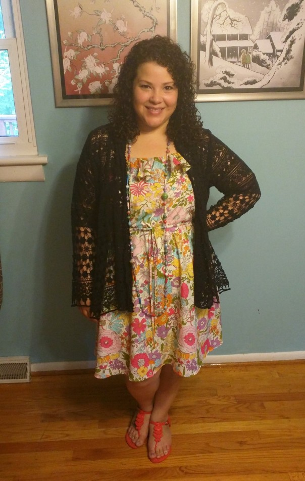 Liberty London Target floral dress, Mel by Melissa Sandals, Johnny Was lace cardigan