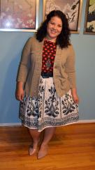 lands end polka dot blouse, classiques entier cardigan, talbots skirt, melissa shoes