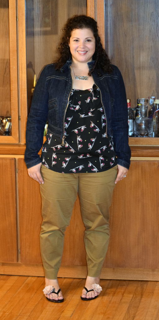 GAP jean jacket, banana republic bird blouse, J Crew khakis, melissa sandals
