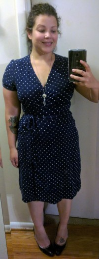november 2016 budget - lands end polka dot wrap dress