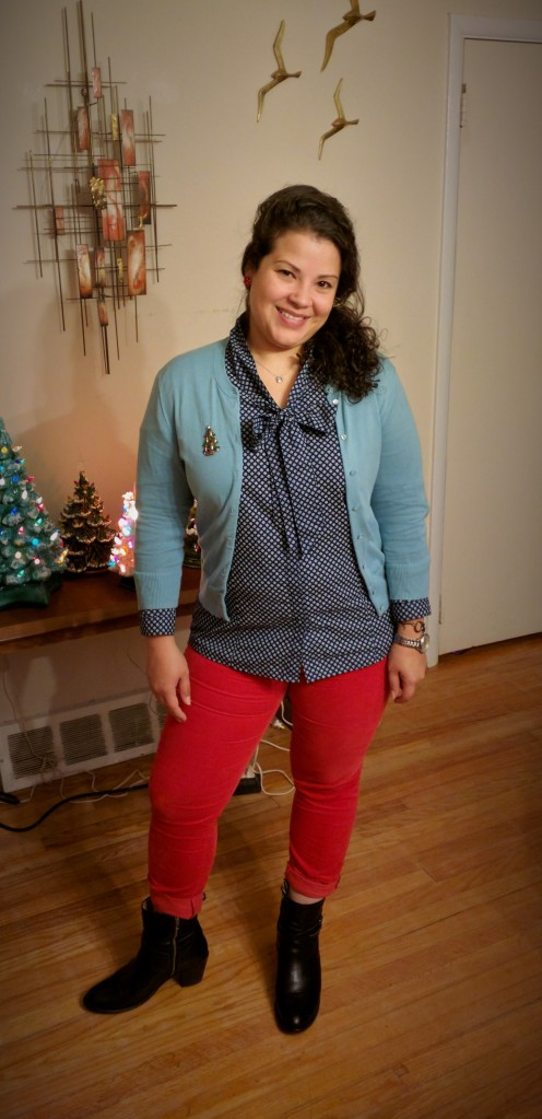 GAP red corduroy skinny leggings, frye boots, brooks brothers top, j. crew cardigan