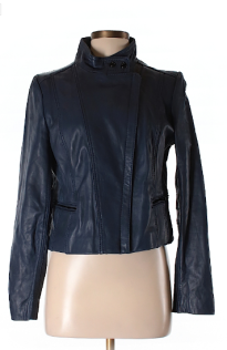 kenneth cole new york leather jacket blue - thredup