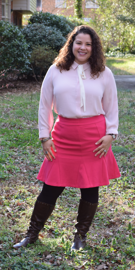 Banana Republic tie blouse, Banana Republic pink skirt, Born boots