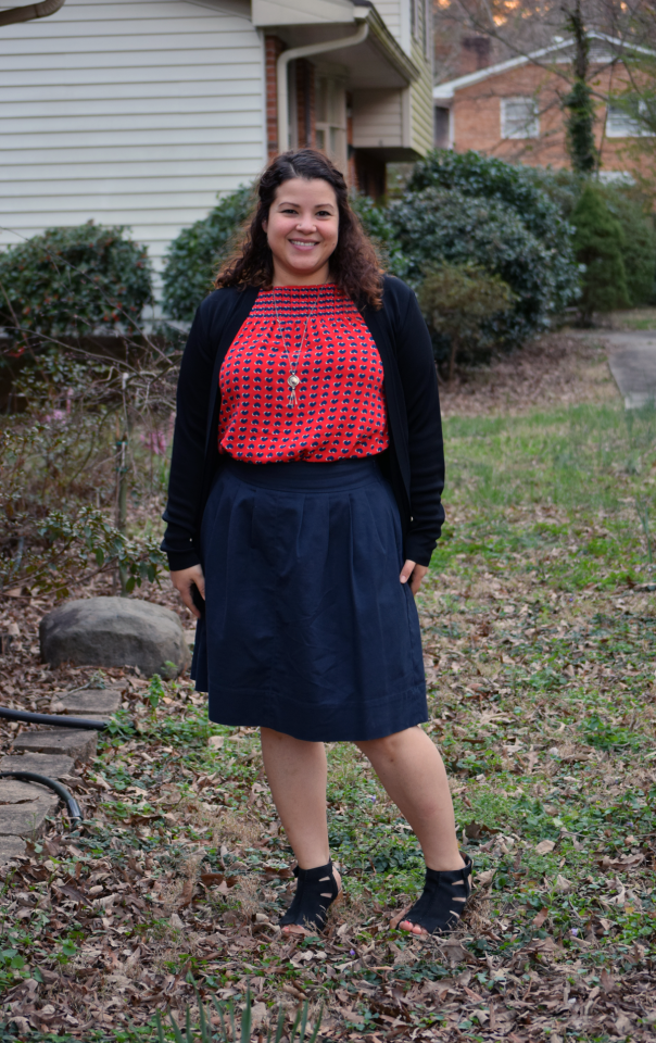Marc by Marc Jacobs heart blouse, navy skirt, Dansko Demetra sandals, misook open cardigan