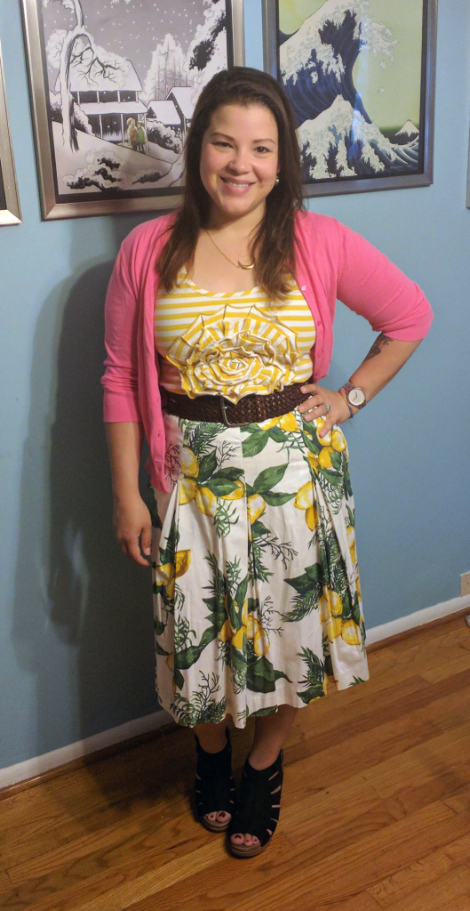 Talbots lemon print skirt, kate spade striped tank, dansko demetra sandals, j crew factory cardigan