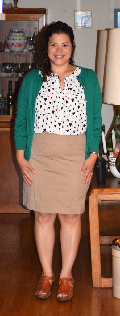 BR factory skirt, Lands End Cardigan, NYDJ heart print blouse, Dansko Sandals