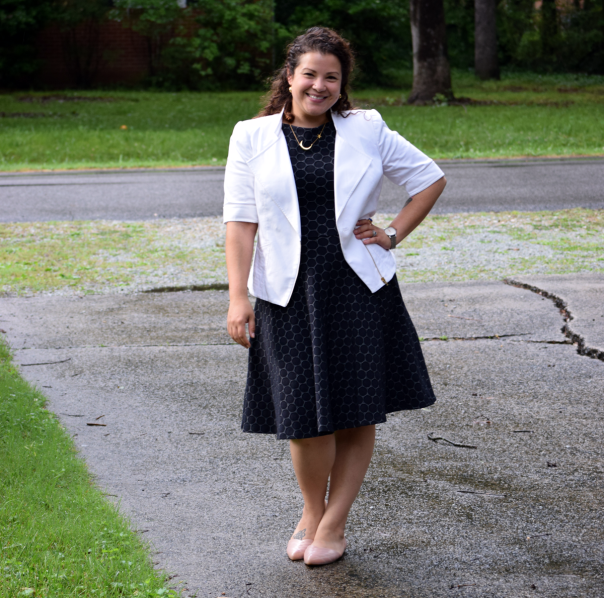 Leota fit and flare dress, Melissa shoes, White blazer (old from the Limited)