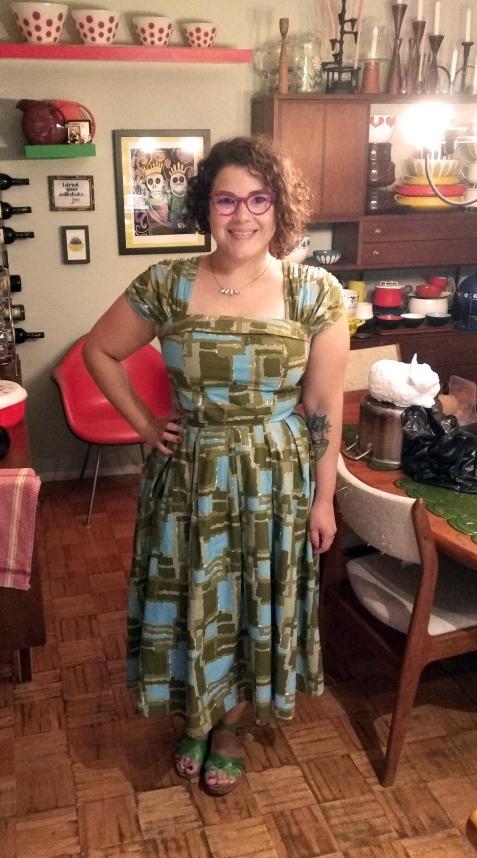 LAZYBONES vintage dress, Caroline Abram eyeglasses, Chameleon clogs