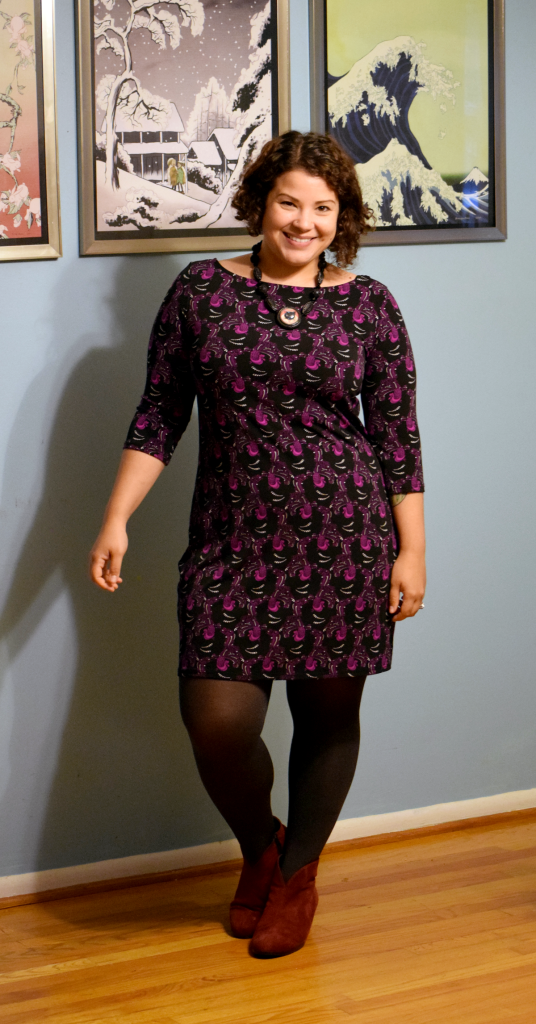 Leota Nouveau Sheath dress, Hotcakes necklace, HUE tights, Munro boots